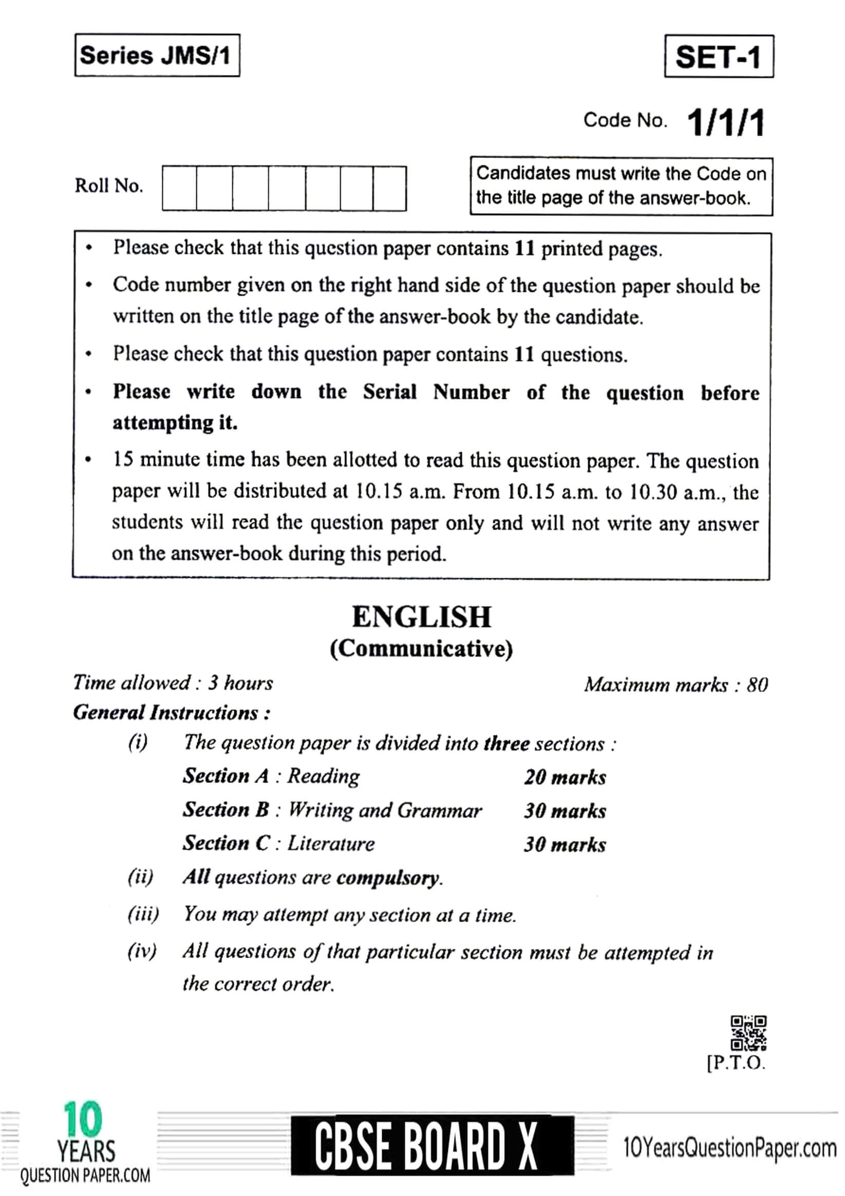 CBSE Class 10 English Communicative 2019 Question Paper