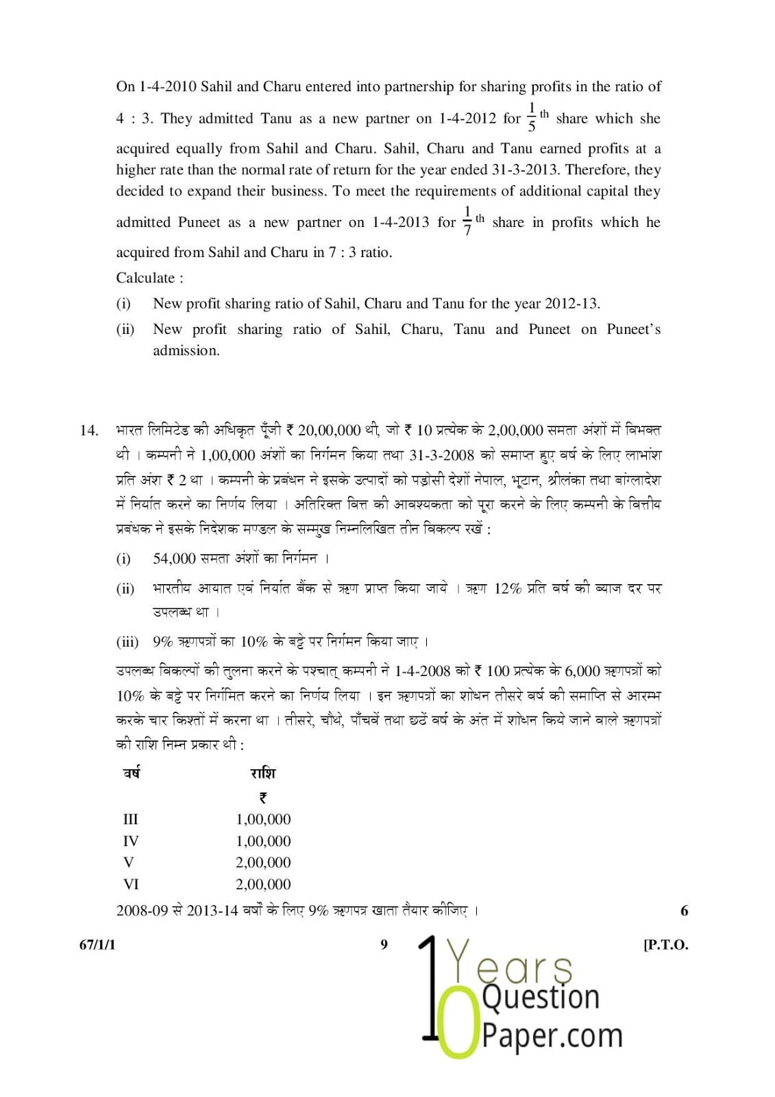 CBSE Class 12 Accountancy 2015 Question Paper