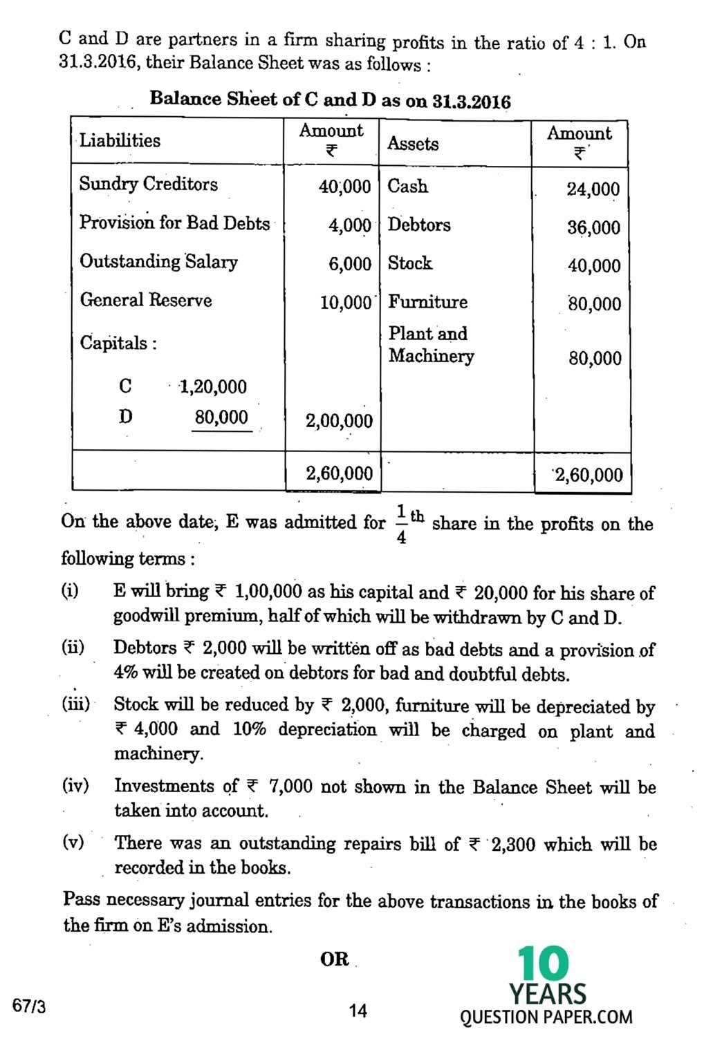 CBSE Class 12 Accountancy 2017 Question Paper