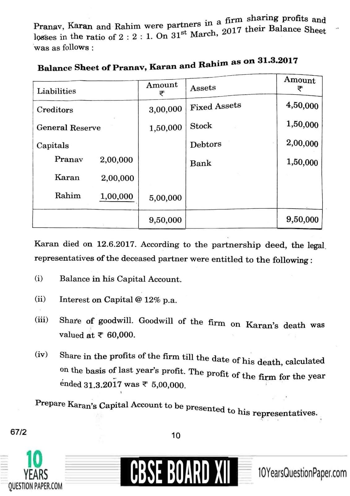 CBSE Class 12 Accountancy 2018 Question Paper