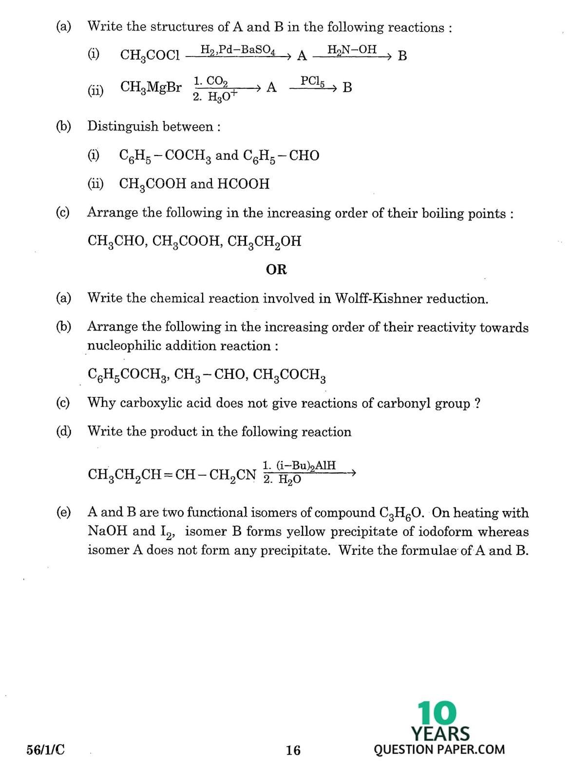 CBSE Class 12 Chemistry 2016 Question Paper