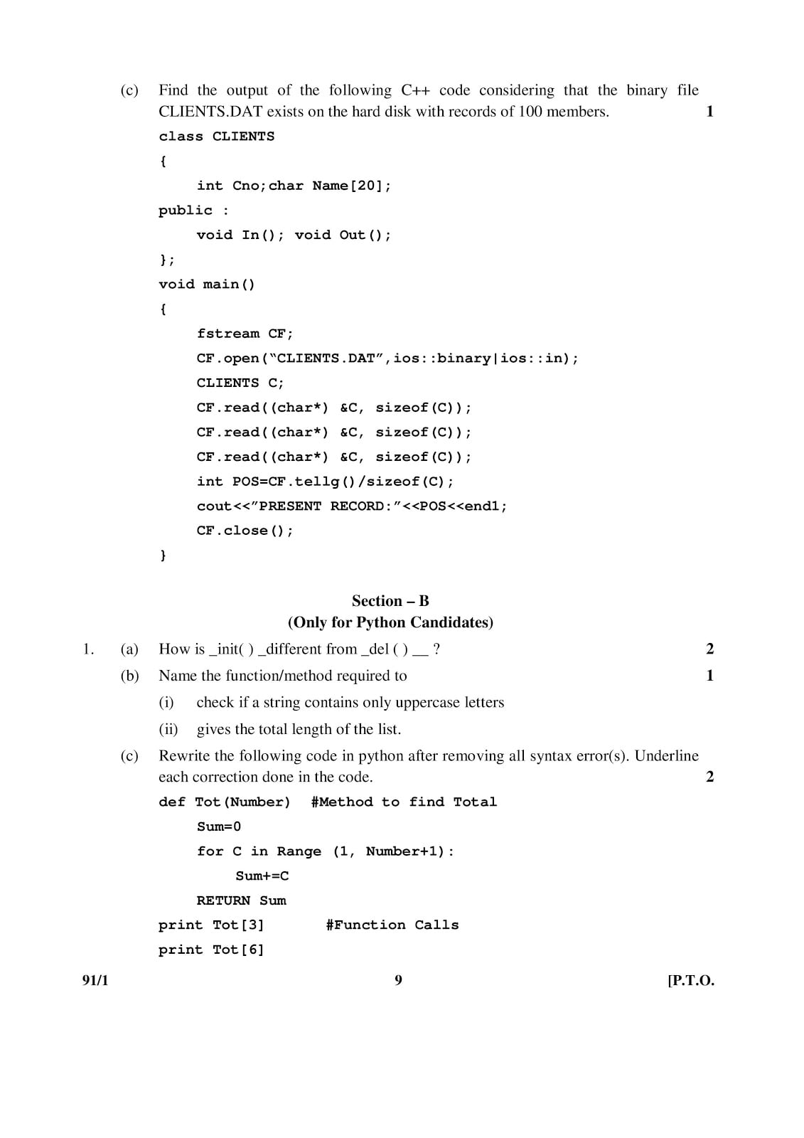 CBSE Class 12 Computer Science 2015 Question Paper