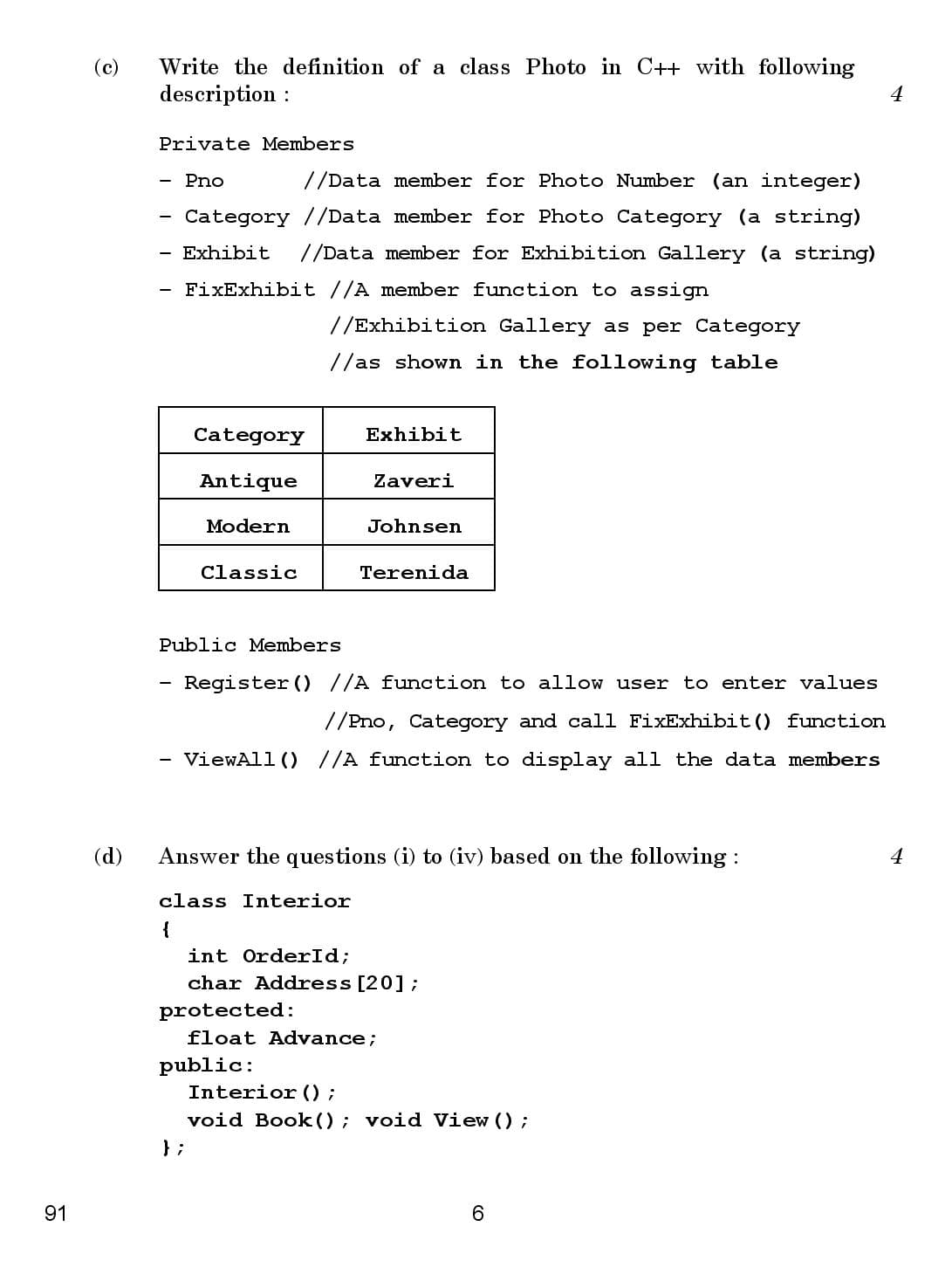 CBSE Class 12 Computer Science 2016 Question Paper