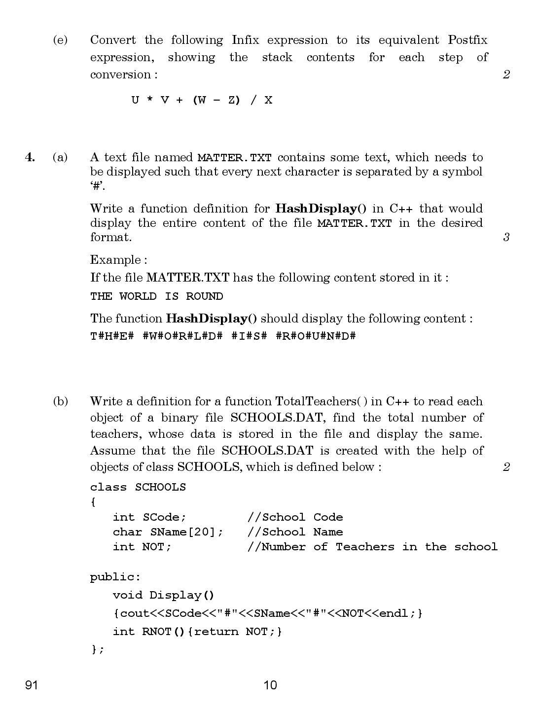 CBSE Class 12 Computer Science 2018 Question Paper
