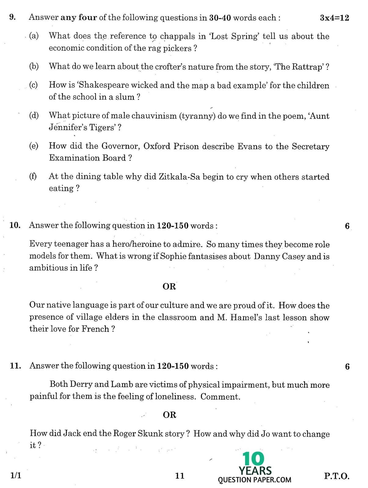CBSE Class 12 English Core 2016 Question Paper