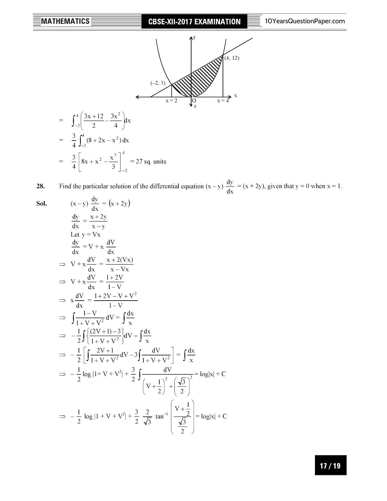 CBSE Class 12 Mathematics 2017 Solved Paper