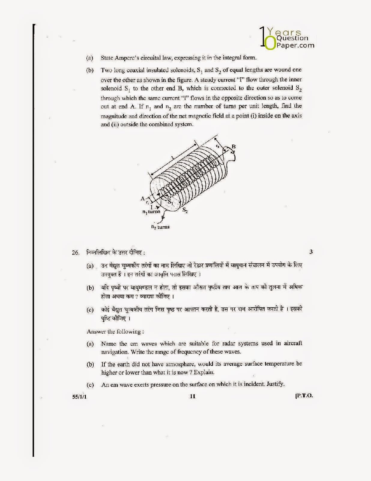 CBSE Class 12 Physics 2014 Question Paper