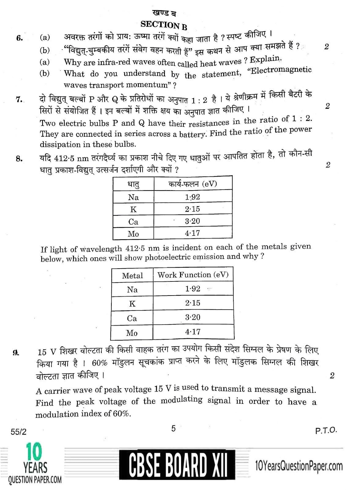 CBSE Class 12 Physics 2018 Question Paper