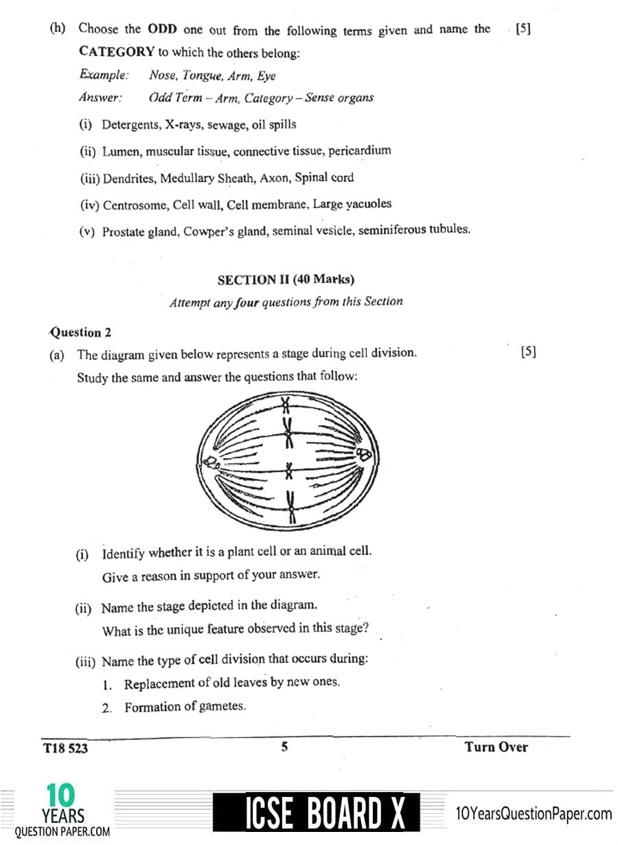 ICSE Class 10 Biology 2018 Question Paper