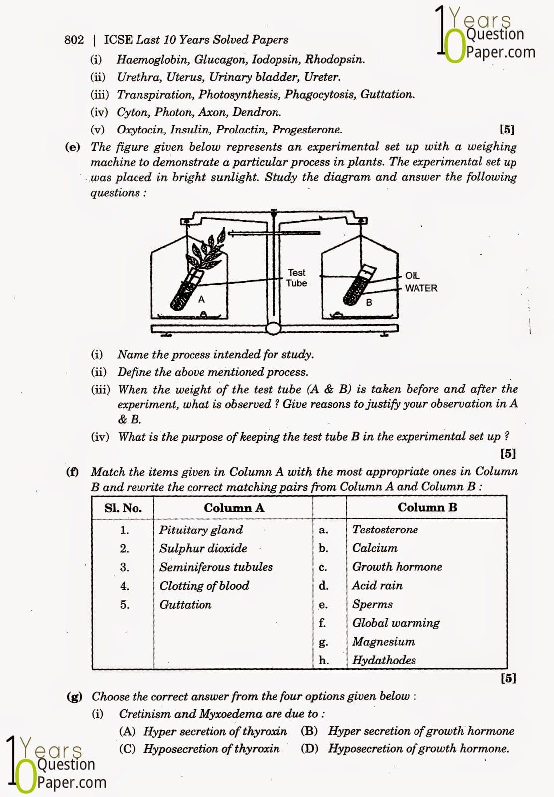 ICSE Class 10 Biology 2014 Question Paper