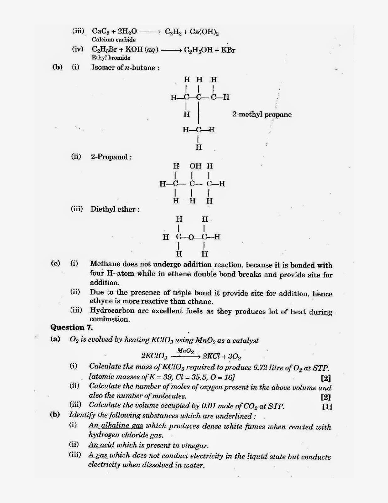 ICSE Class 10 Chemistry 2013 Question Paper