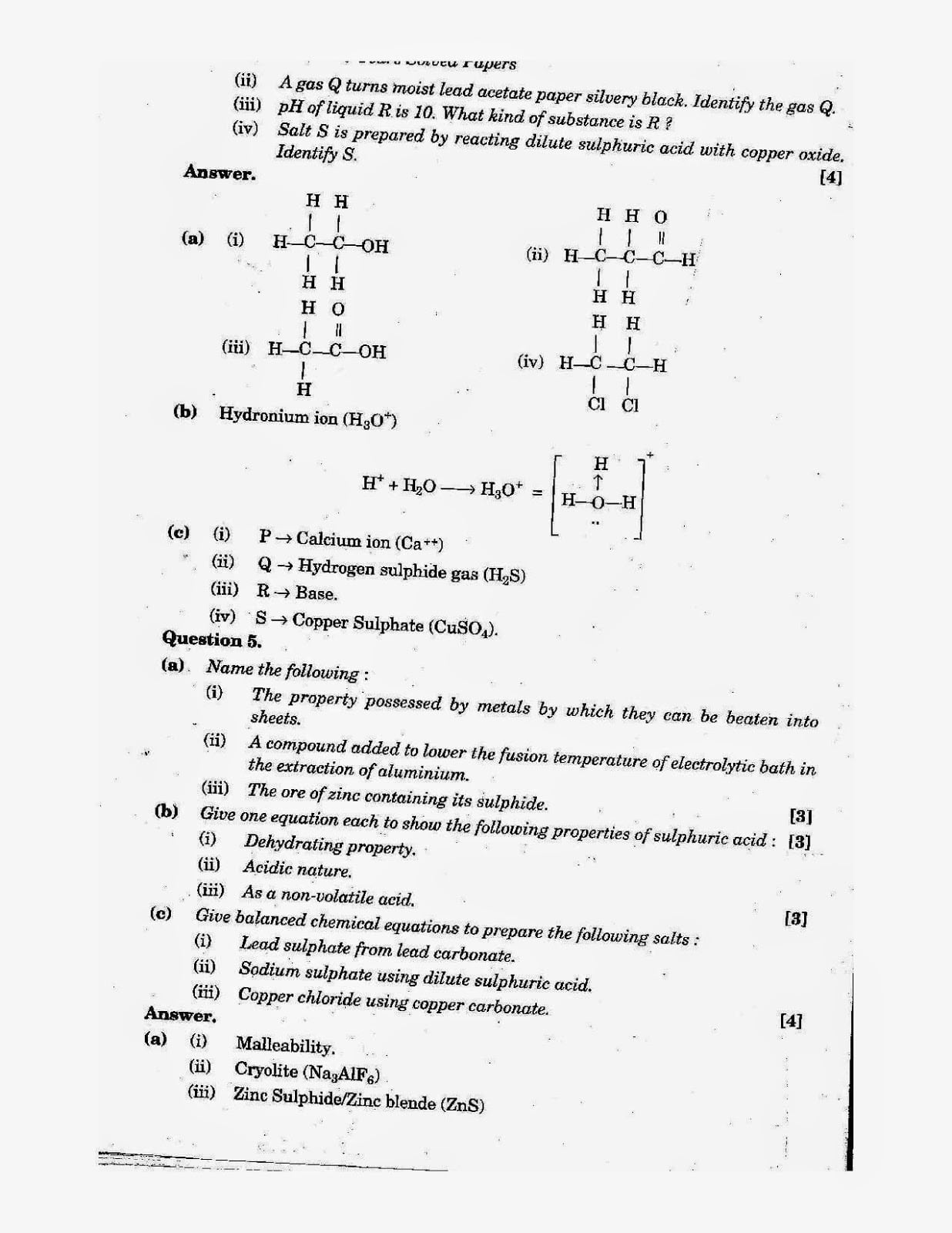 ICSE Class 10 Chemistry 2014 Question Paper