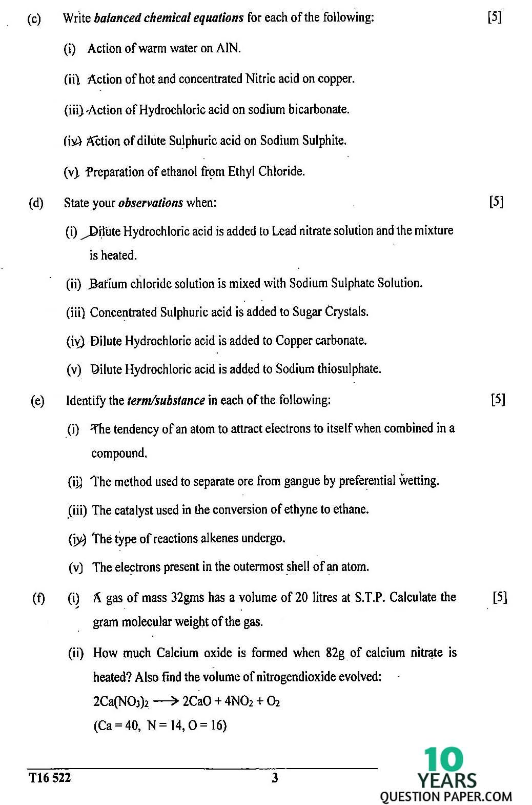 ICSE Class 10 Chemistry 2016 Question Paper