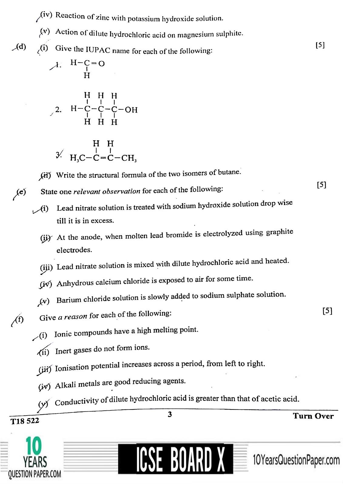 ICSE Class 10 Chemistry 2018 Question Paper