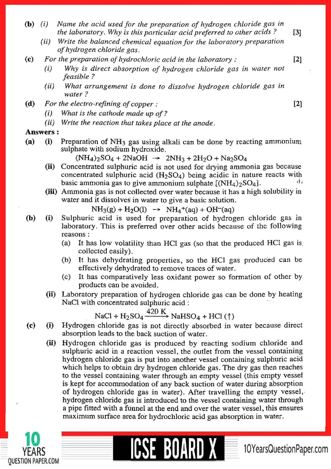 ICSE Class 10 Chemistry 2018 Solved Paper
