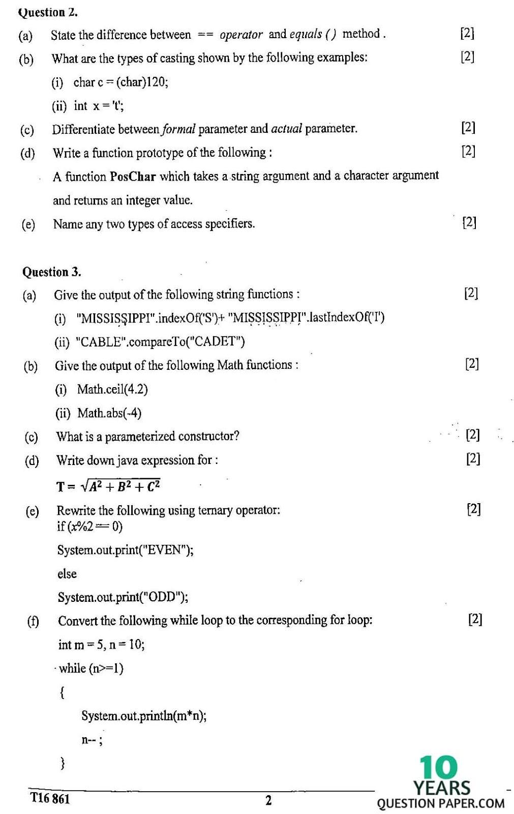 ICSE Class 10 Computer Applications 2016 Question Paper