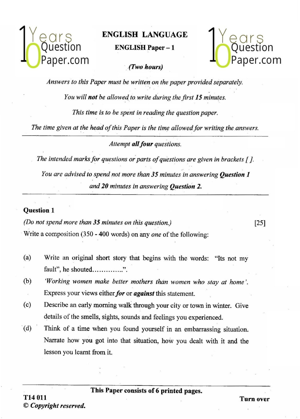 ICSE Class 10 English Language 2014 Question Paper