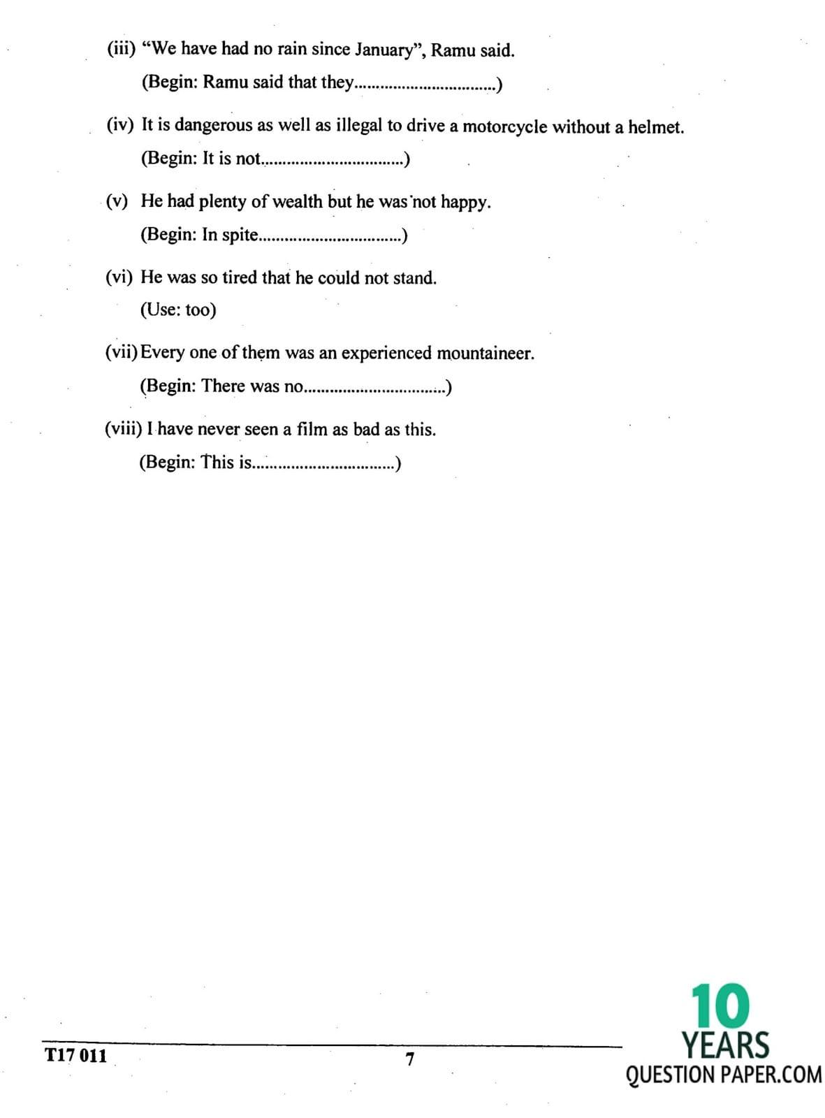 ICSE Class 10 English Language 2017 Question Paper