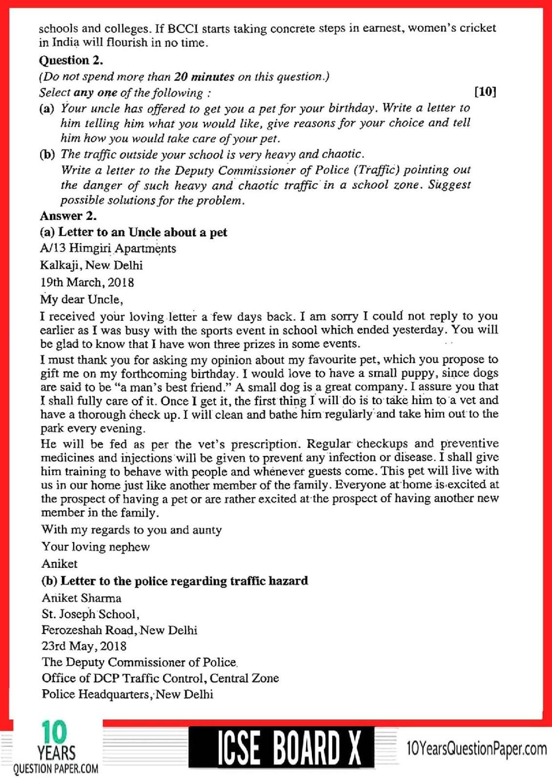 ICSE Class 10 English Language 2018 Solved Paper