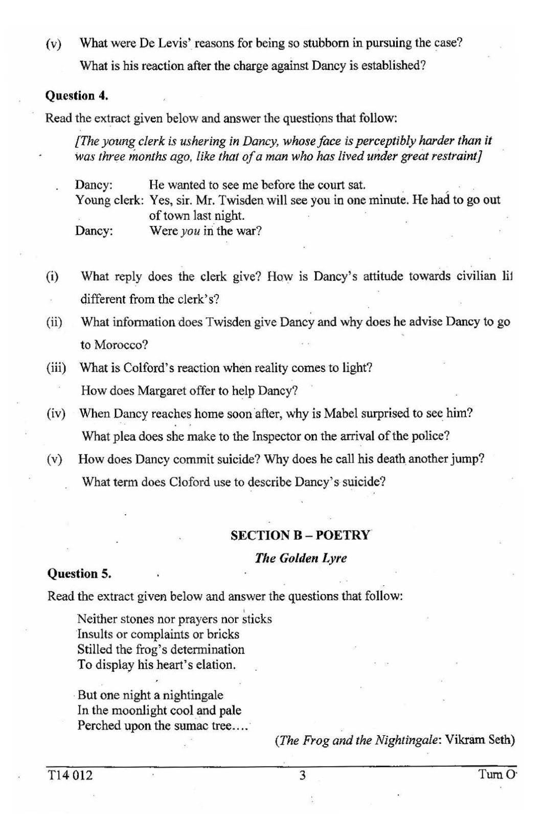 ICSE Class 10 English Literature 2014 Question Paper