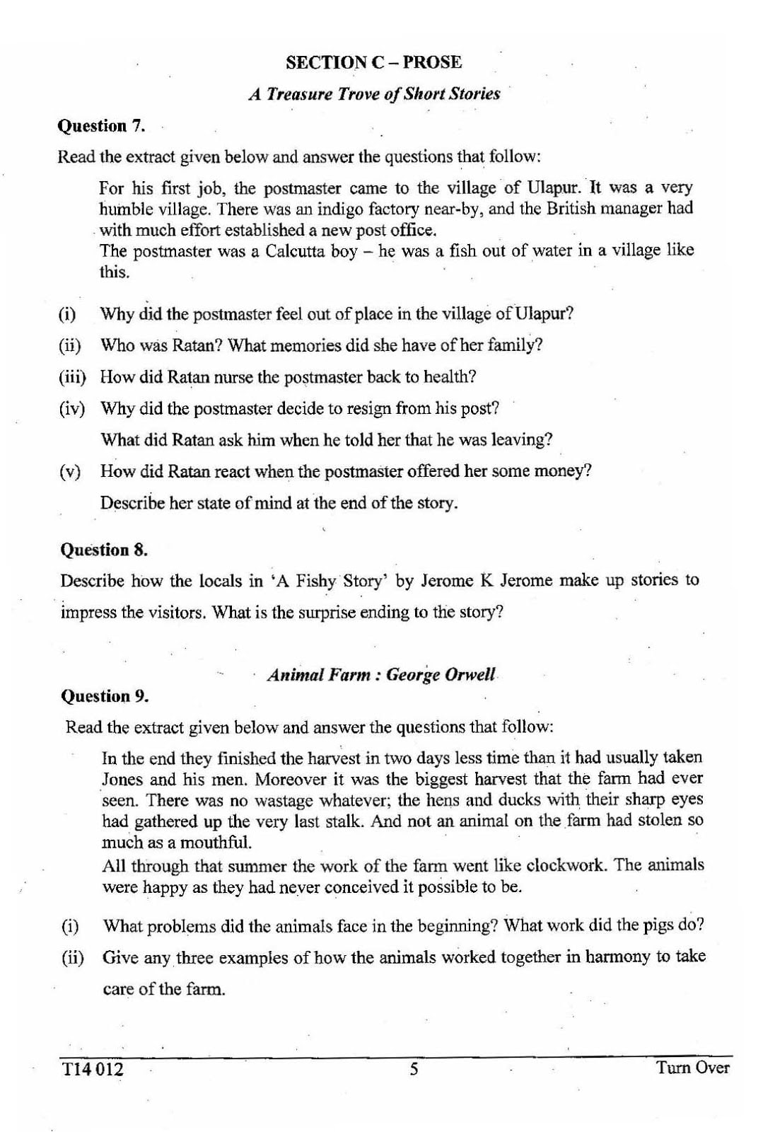 ICSE Class 10 English Literature 2014 Question Paper