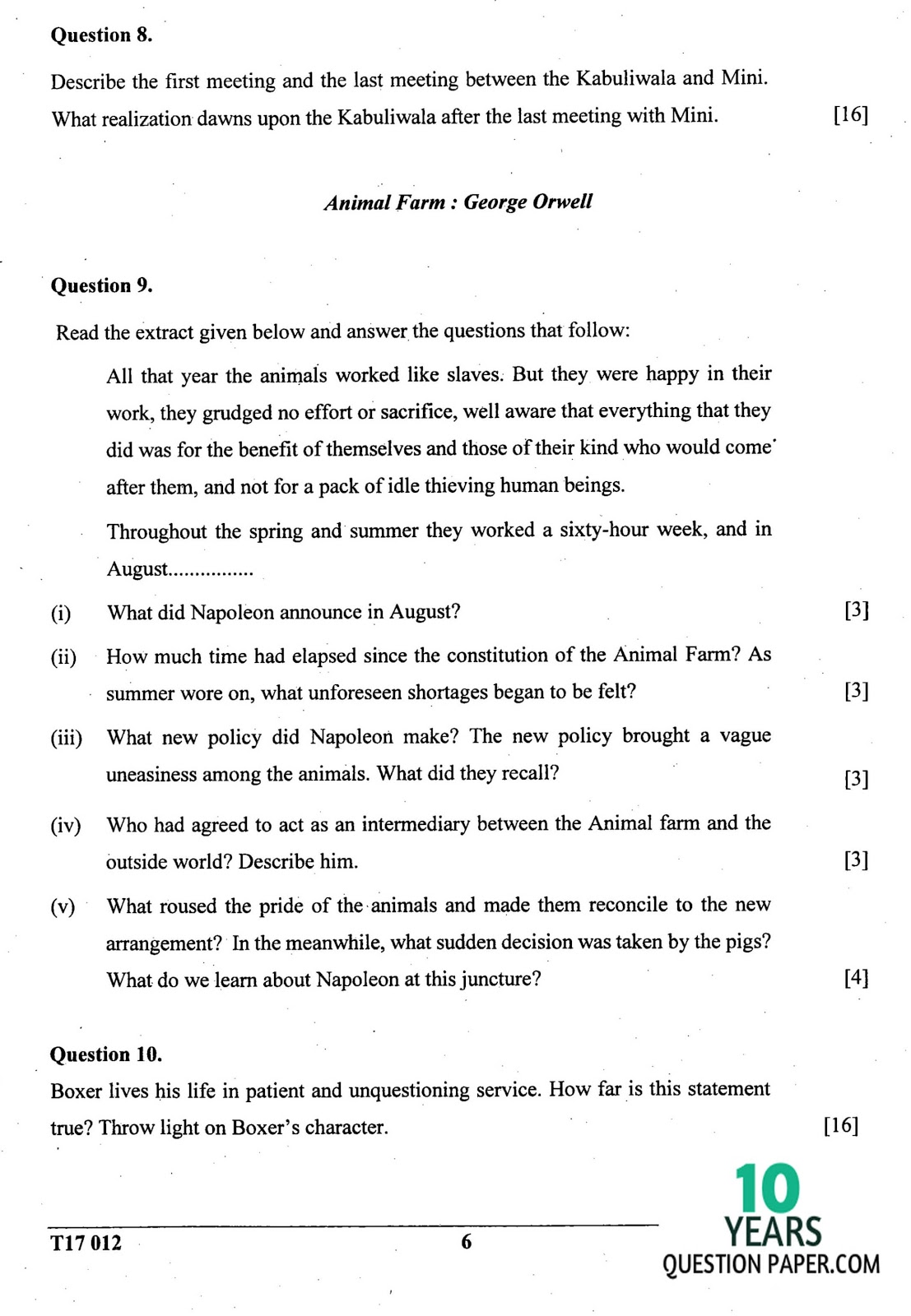 ICSE Class 10 English Literature 2017 Question Paper