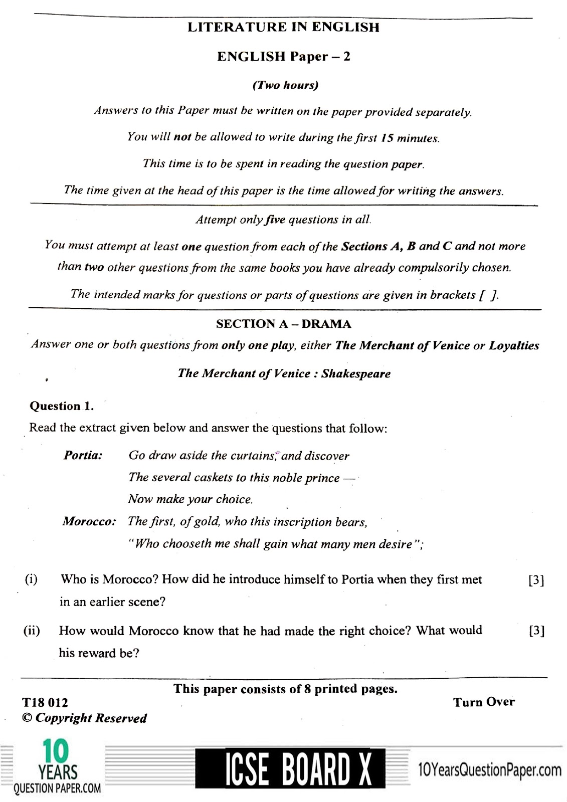 ICSE Class 10 English Literature 2018 Question Paper