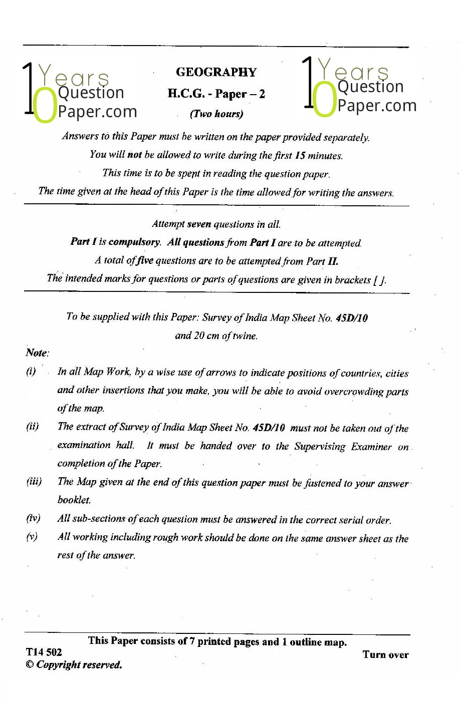 ICSE Class 10 Geography 2014 Question Paper