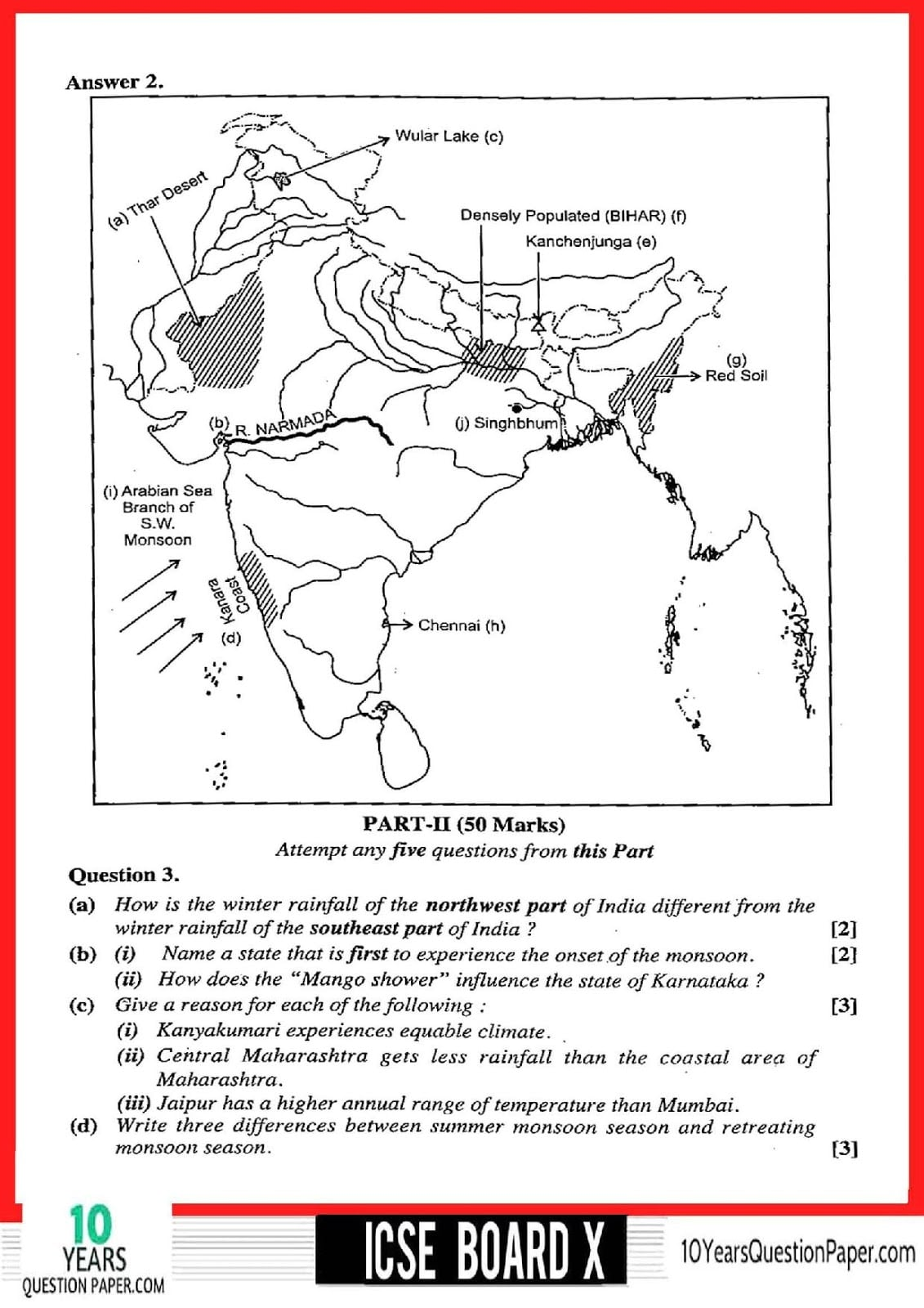 ICSE 2018 Geography Solved Paper for Class 10