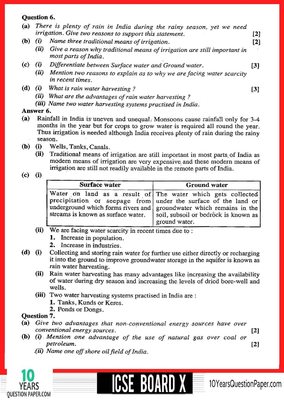 ICSE Class 10 Geography 2018 Solved Paper