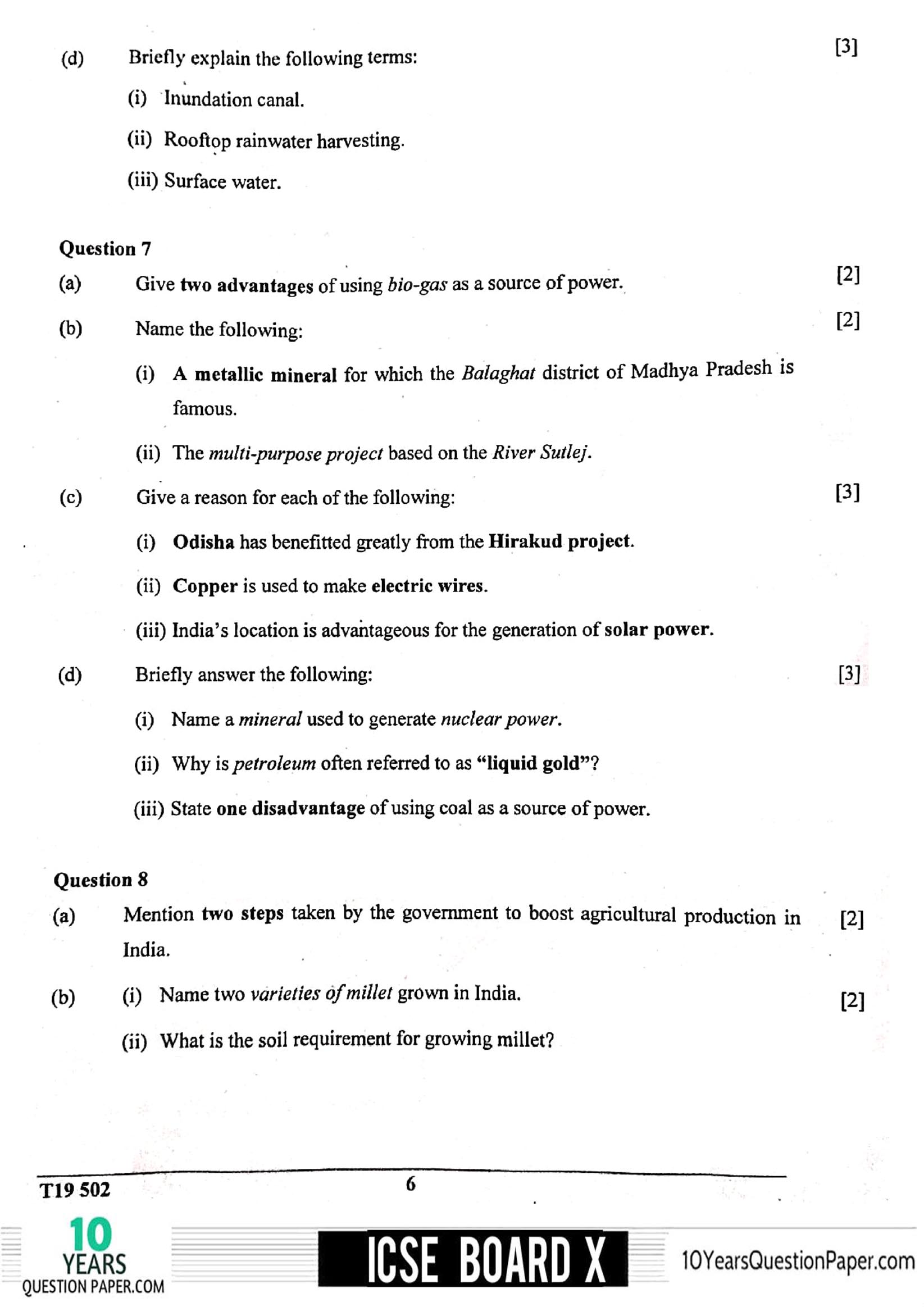 ICSE Class 10 Geography 2019 Question Paper