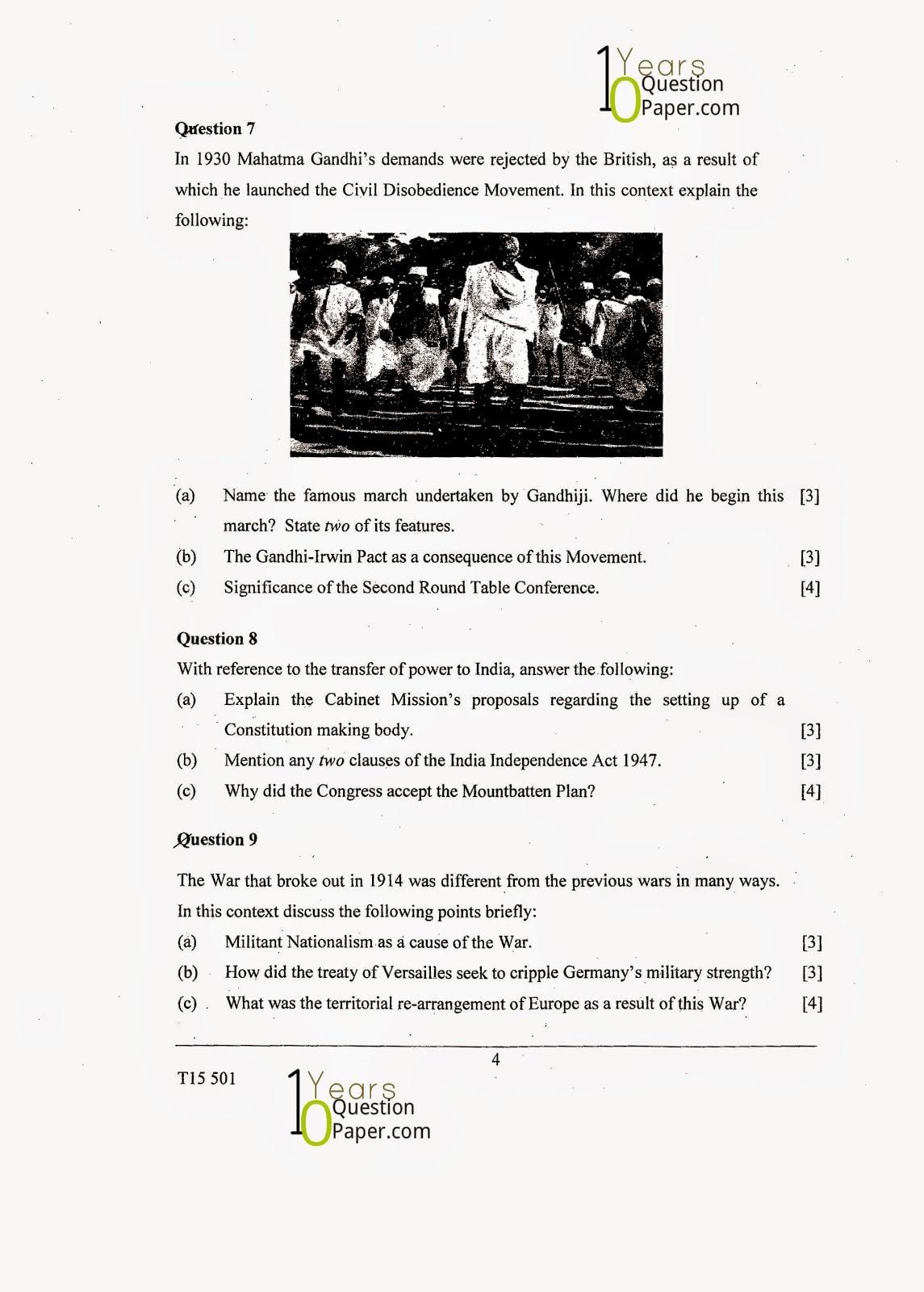 ICSE Class 10 History & Civics 2015 Question Paper