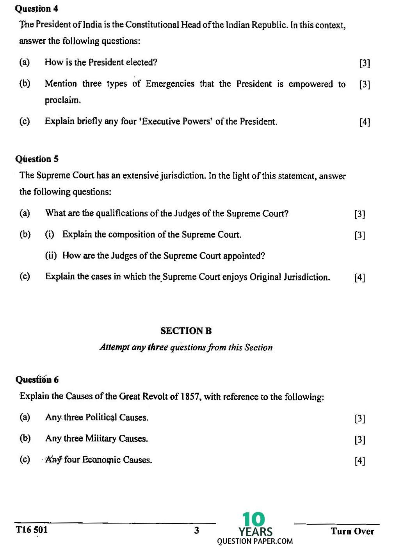 ICSE Class 10 History & Civics 2016 Question Paper