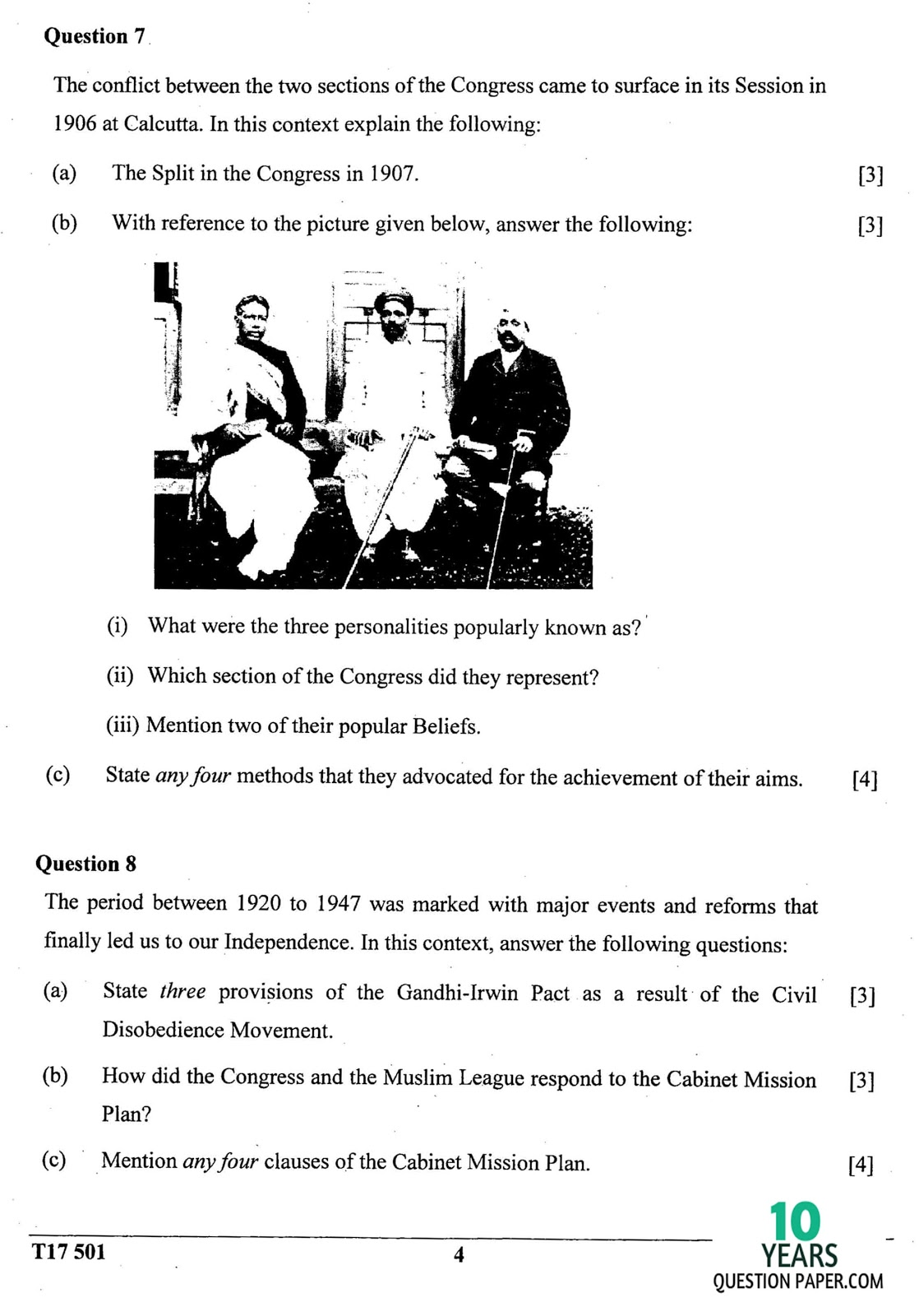 ICSE Class 10 History & Civics 2017 Question Paper