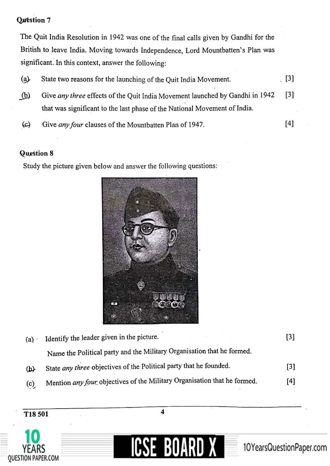 ICSE Class 10 History & Civics 2018 Question Paper