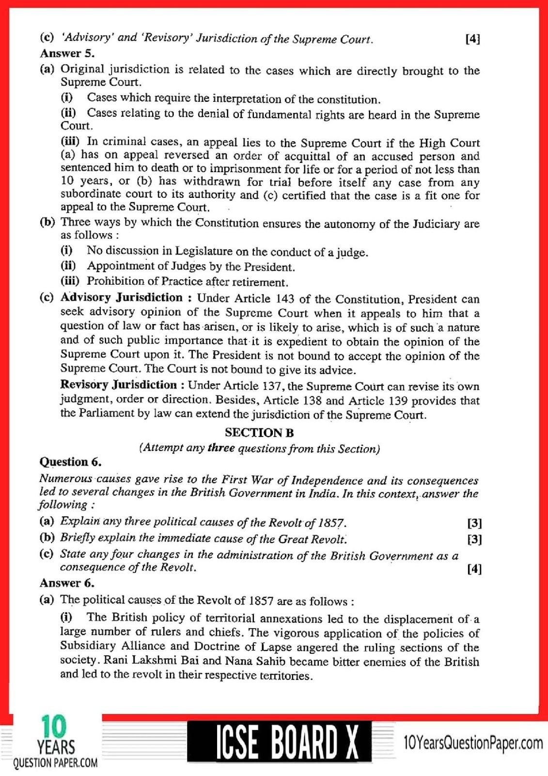 ICSE Class 10 History & Civics 2018 Solved Question Paper
