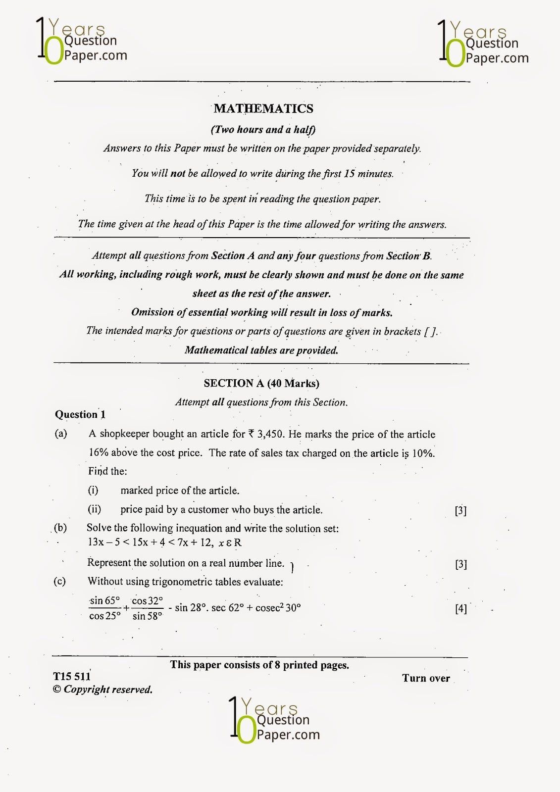 ICSE 2015 Mathematics Question Paper for Class 10