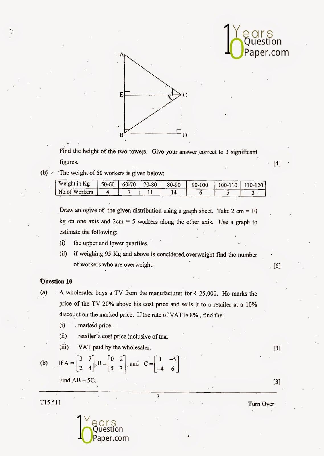 ICSE Class 10 Mathematics 2015 Question Paper