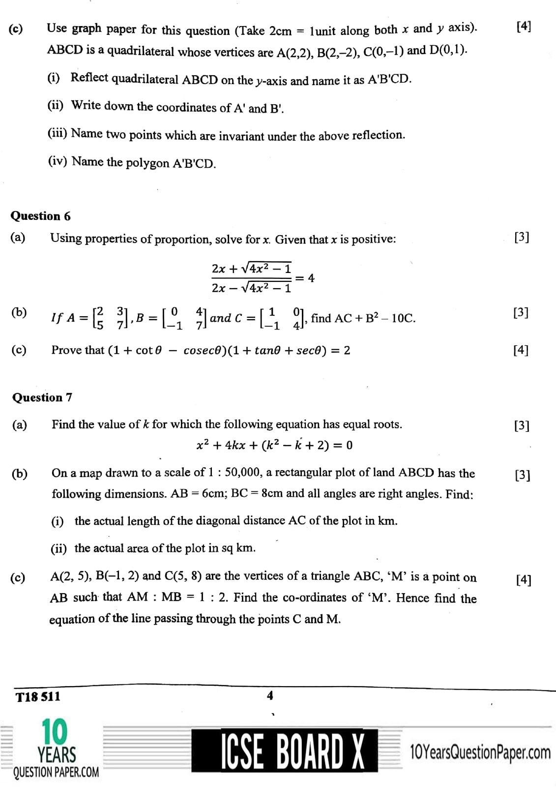 ICSE Class 10 Mathematics 2018 Question Paper