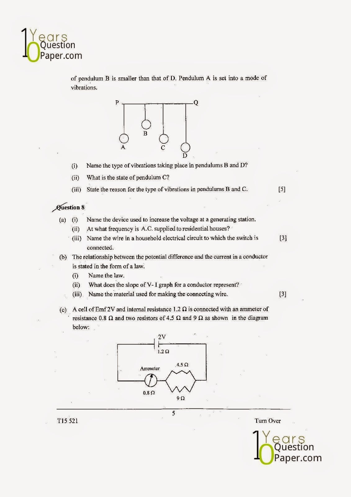 ICSE Class 10 Physics 2015 Question Paper