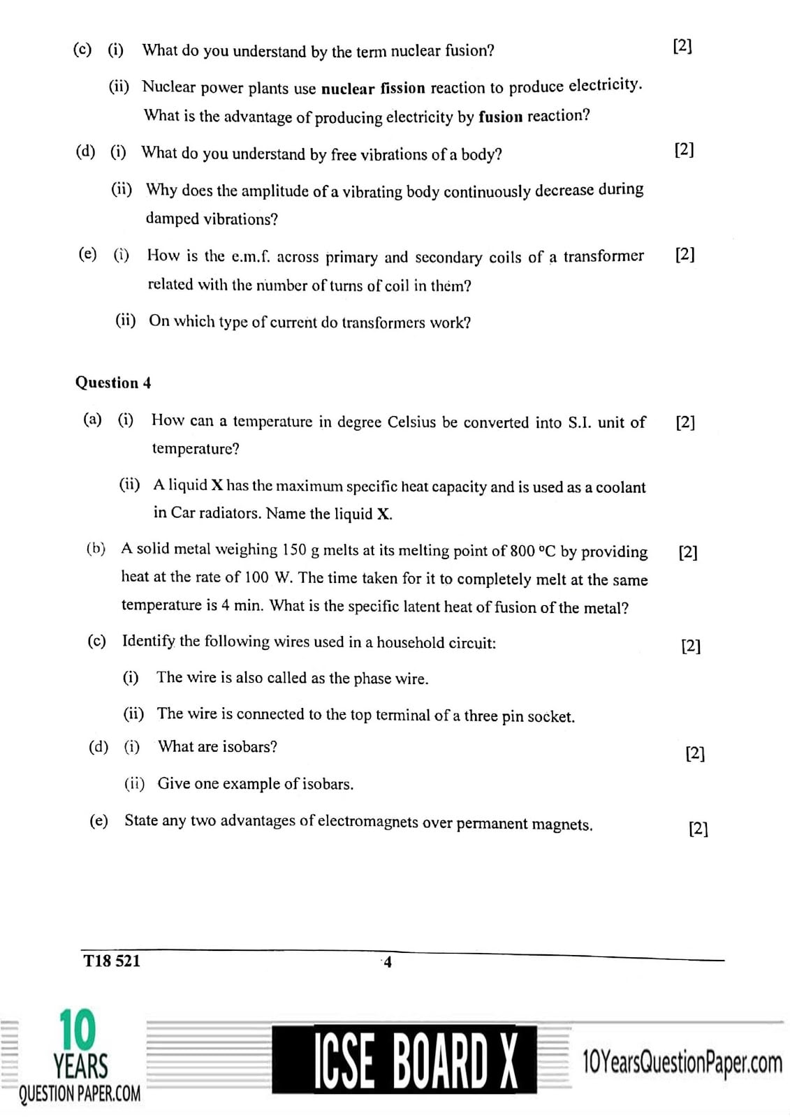 ICSE Class 10 Physics 2018 Question Paper