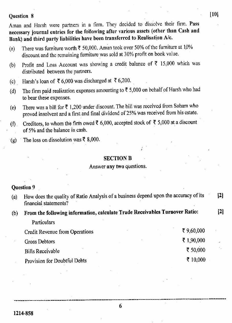 ISC Class 12 Accounts 2014 Question Paper