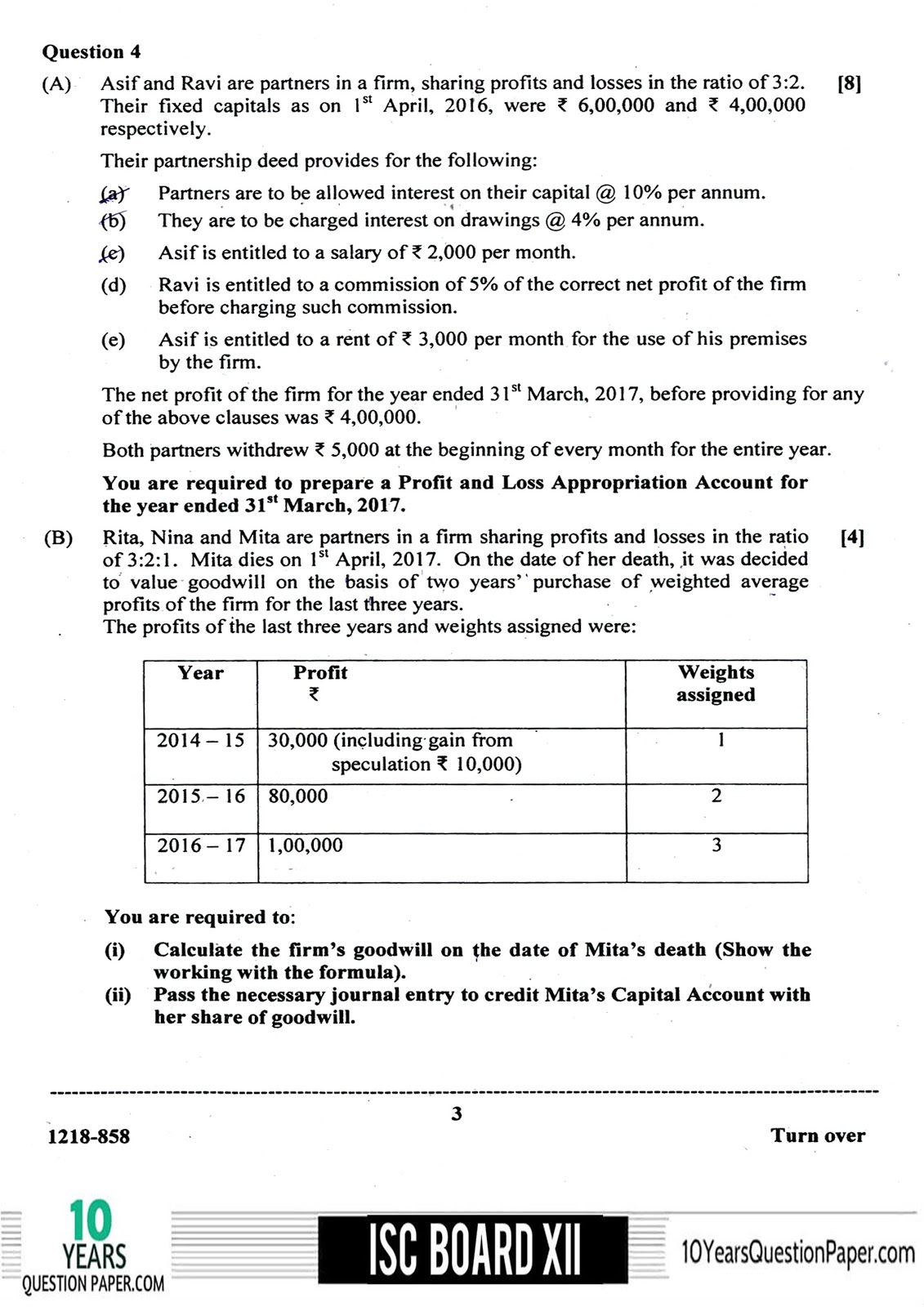 ISC Class 12 Accounts 2018 Question Paper
