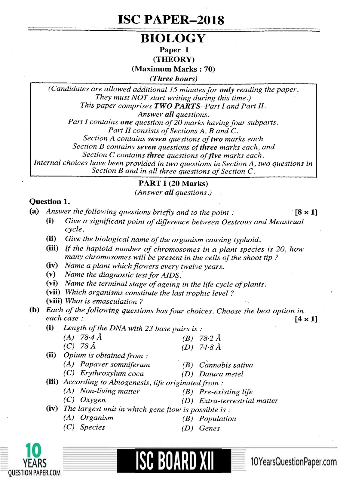 ISC Class 12 Biology Solved 2018 Question Paper