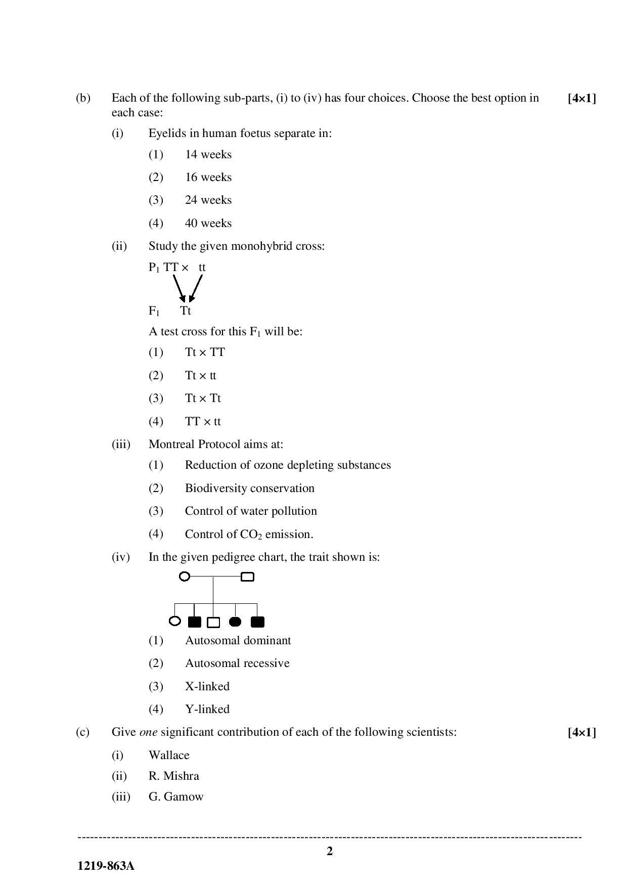 ISC Class 12 Biology 2019 Question Paper