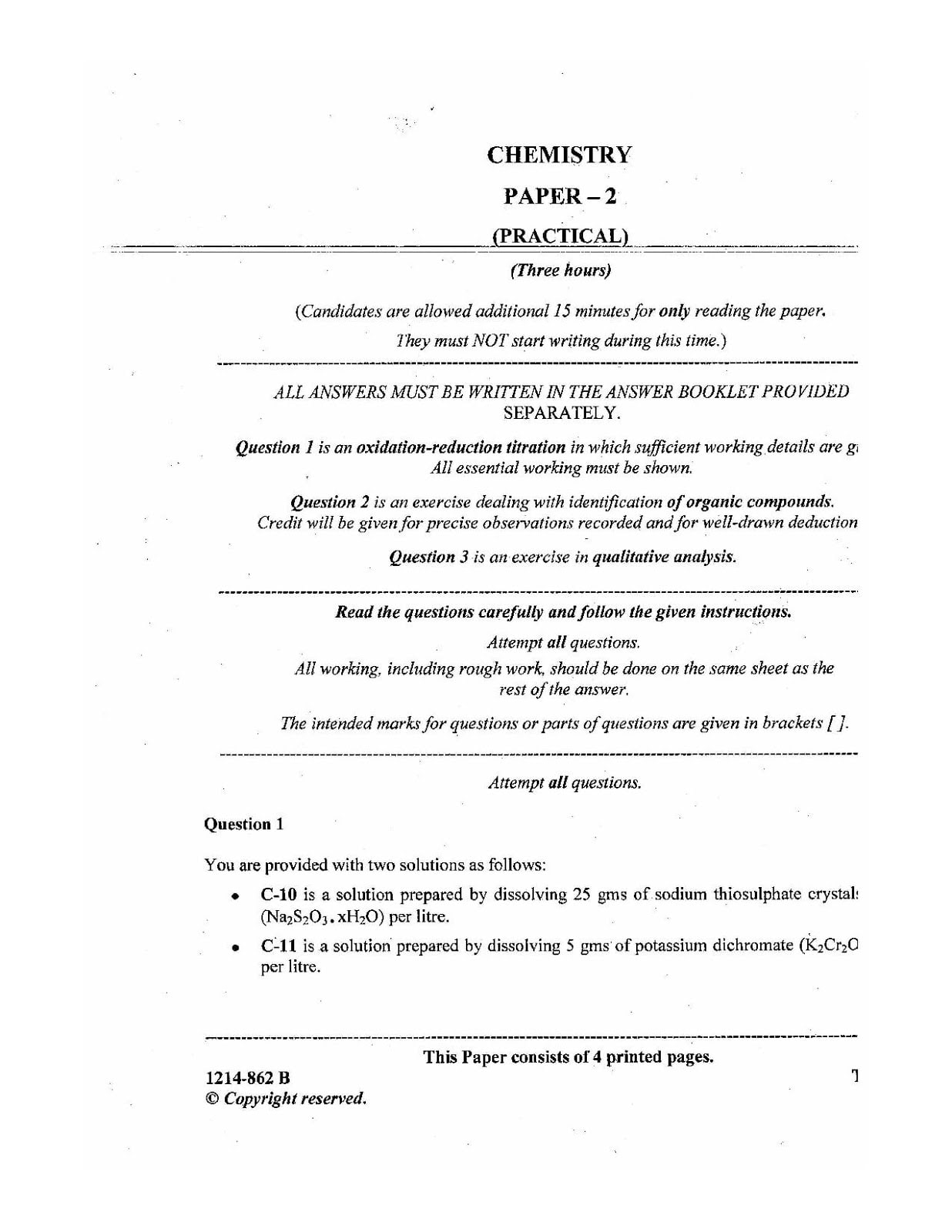 ISC Class 12 Chemistry Practical 2014 Question Paper