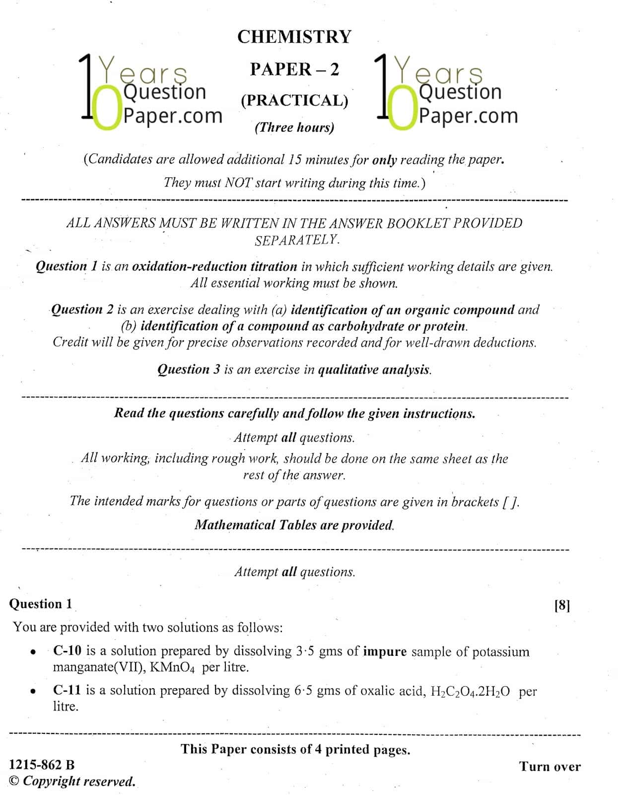ISC Class 12 Chemistry Practical 2015 Question Paper