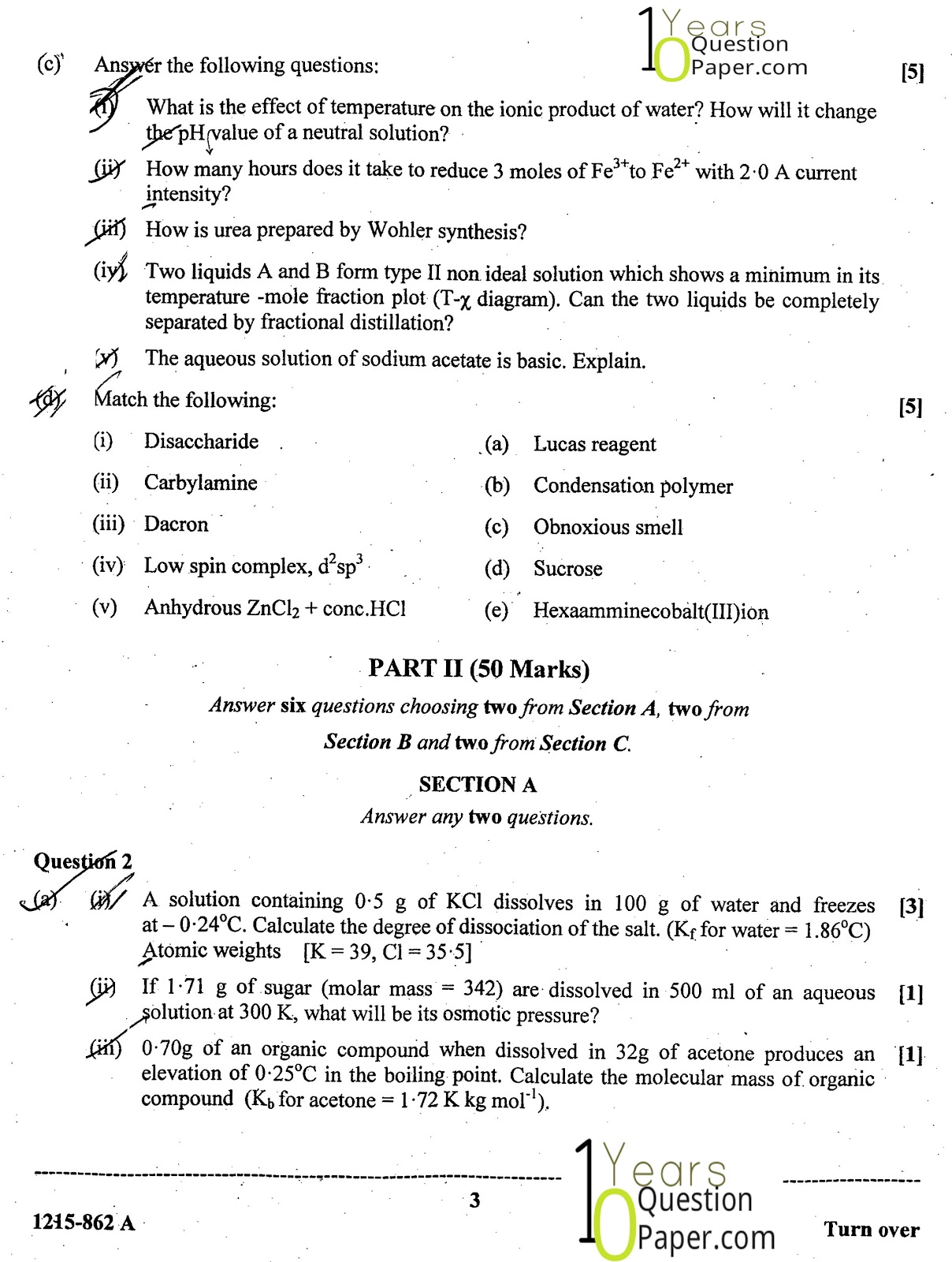 ISC Class 12 Chemistry 2015 Question Paper