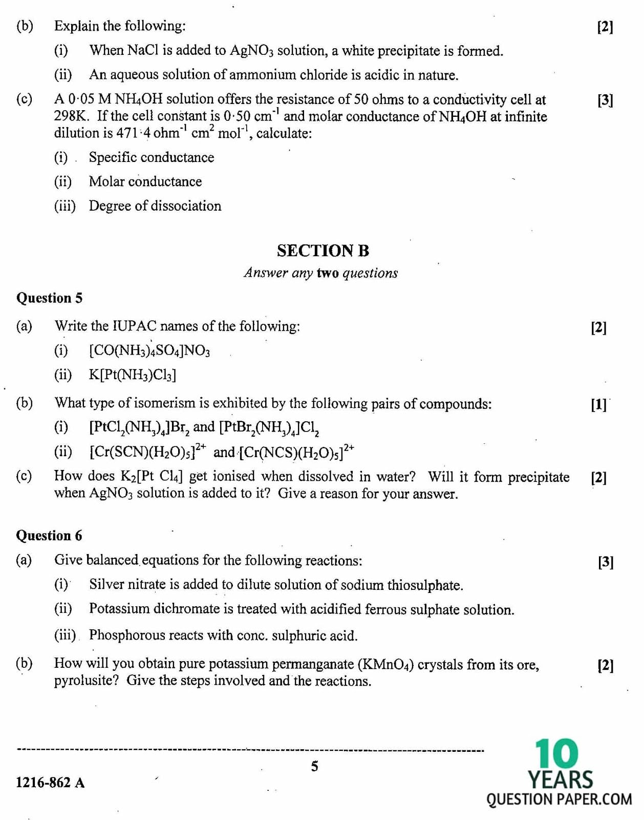 ISC Class 12 Chemistry 2016 Question Paper