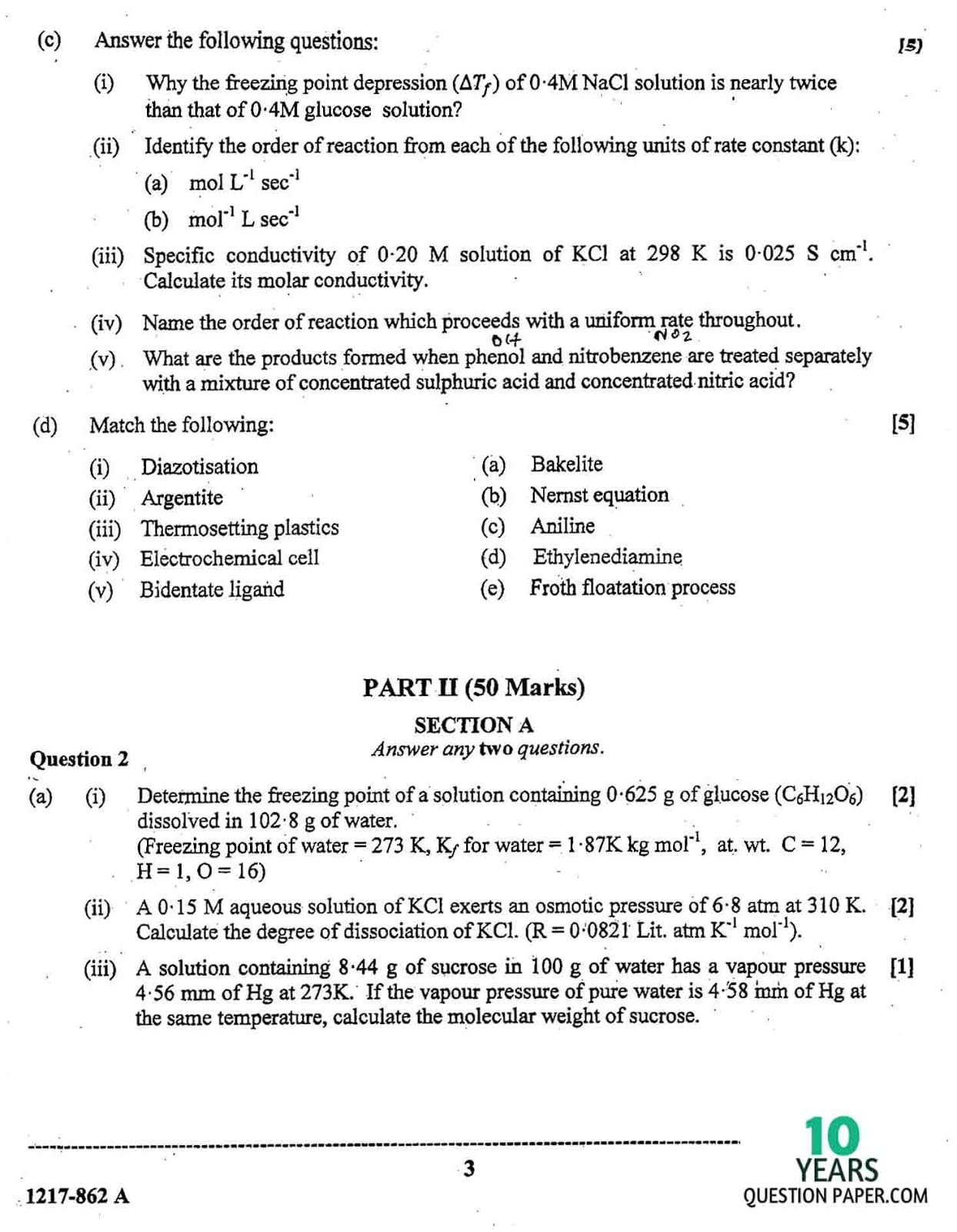 ISC Class 12 Chemistry 2017 Question Paper